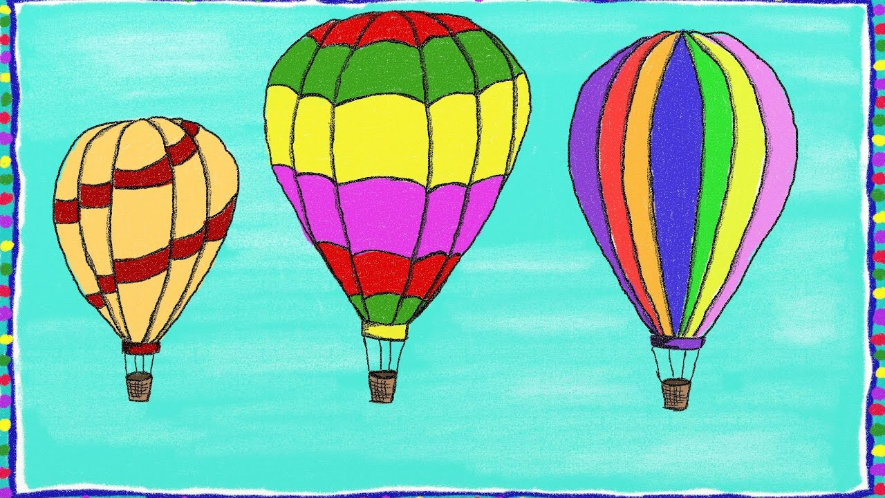 1280x720 Drawing A Simple Hot Air Balloon How To Draw A Hot Air Balloon
