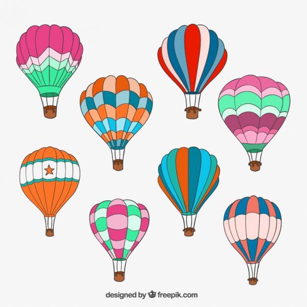 626x626 Hand Drawn Hot Air Balloons Vector Free Download