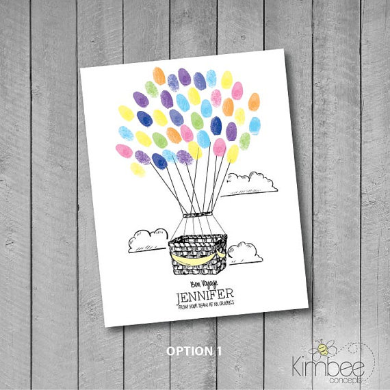 570x570 Personalized Hot Air Balloon Basket Thumbprint Guestbook Sign