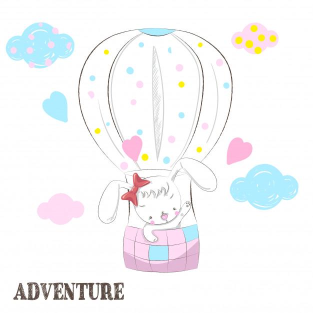 626x626 Cute Rabbit In A Hot Air Balloon Cartoon Drawing Vector Premium