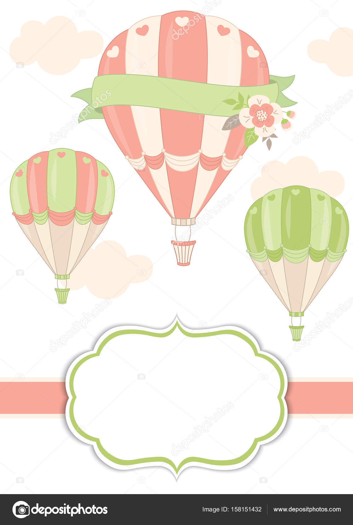 1143x1700 Vector Card Template With Air Balloons In Pastel Color. Vector Air