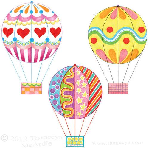 500x500 Colorful Hot Air Balloons Drawings By Thaneeya Balloon