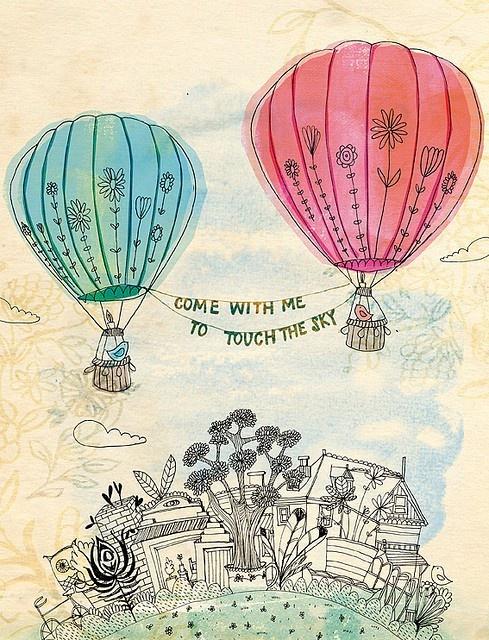 489x640 Hot Air Balloons Drawing