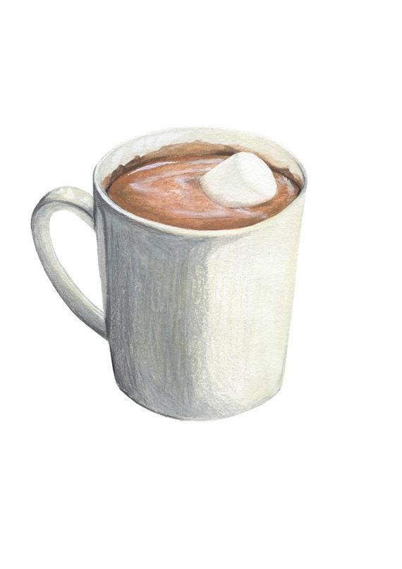 570x806 Hot Chocolate With Marshmallow Original Illustration