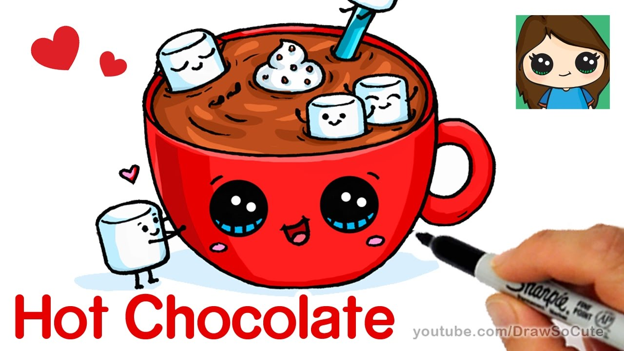 1280x720 How To Draw Hot Chocolate With Marshmallows