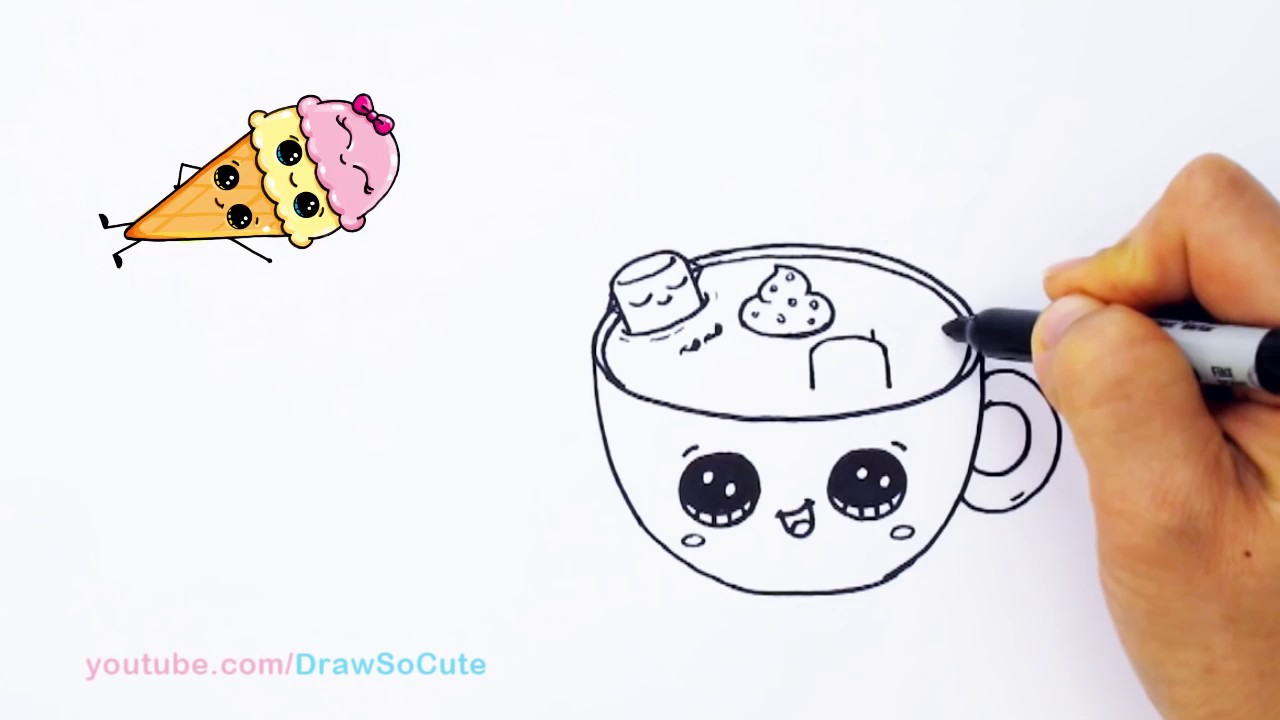 1280x720 How To Draw Hot Chocolate With Marshmallows Step By Step Cute