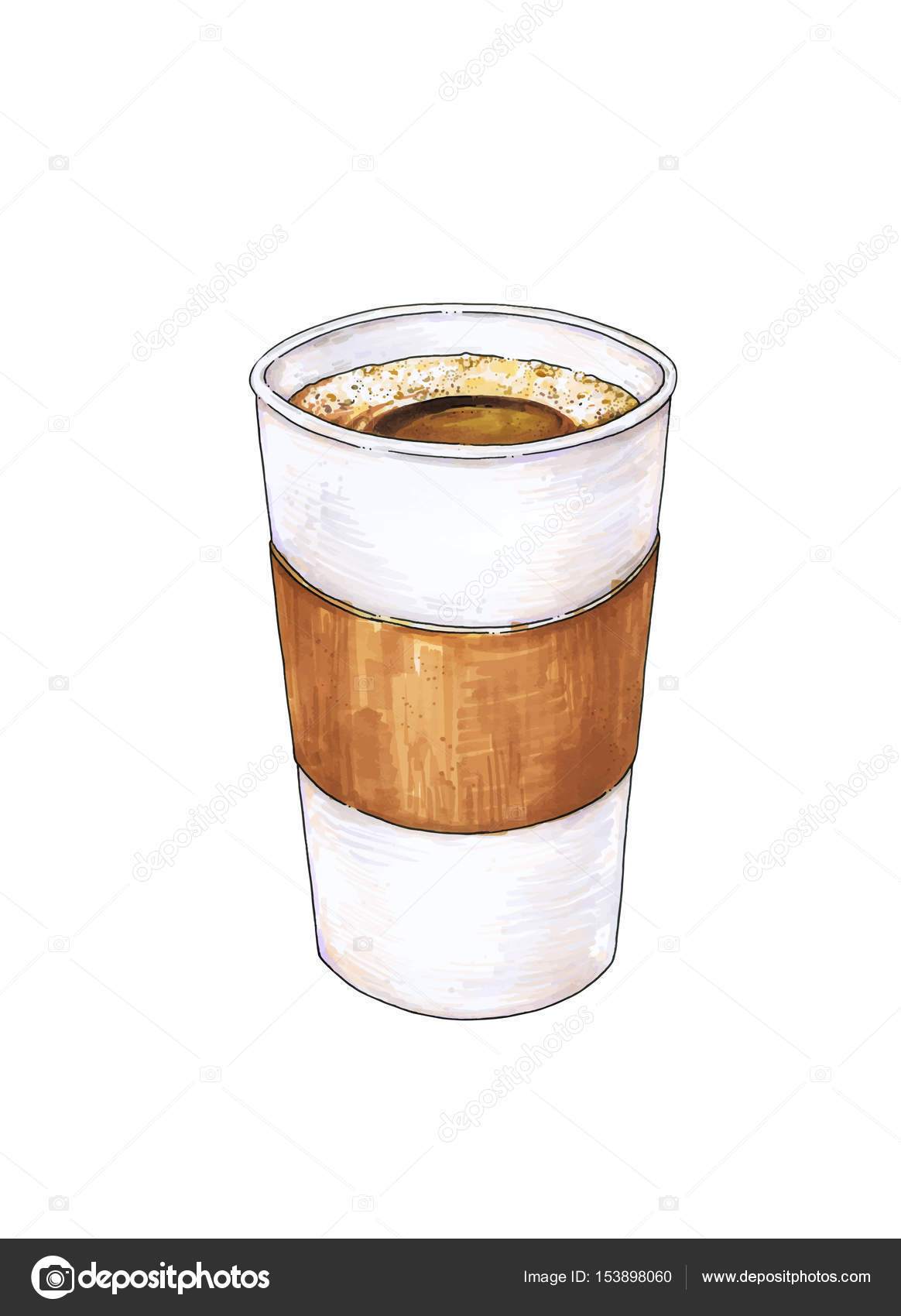 1164x1700 Glass Of Hot Coffee Is Isolated On A White Background. Color