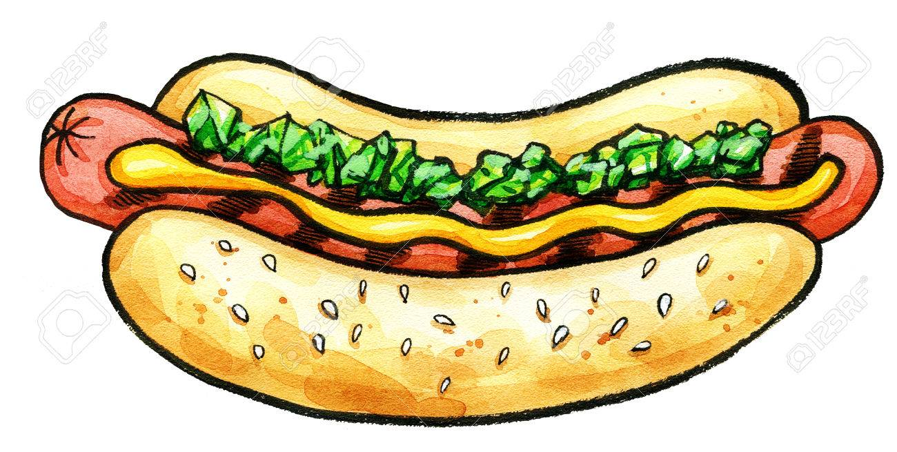 1300x655 Hand Drawn Watercolor Illustration Of Hot Dog With Mustard