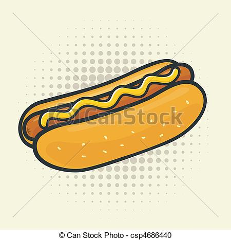 450x467 Pop Art Hot Dog. Delicious Vector Hot Dog. Halftone Vector