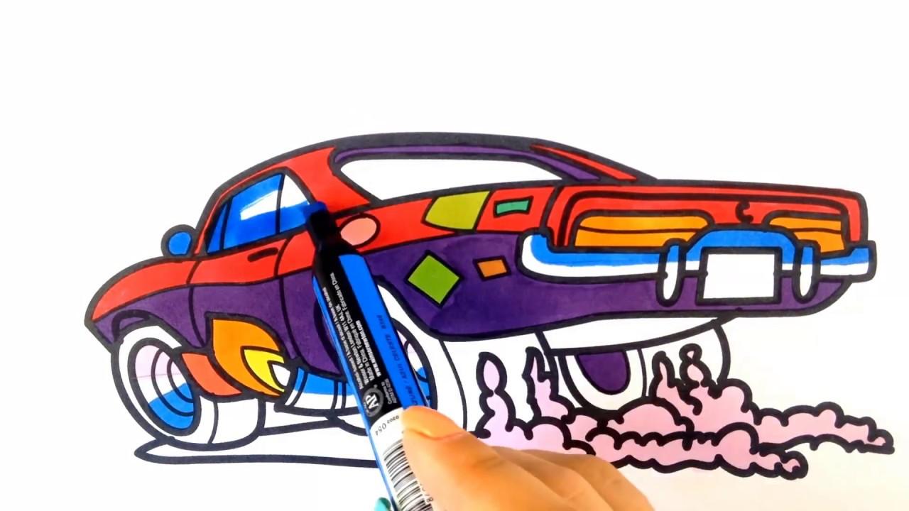 1280x720 How To Draw A Car. Cartoon Muscle Car (Cartoon Hot Wheels Style