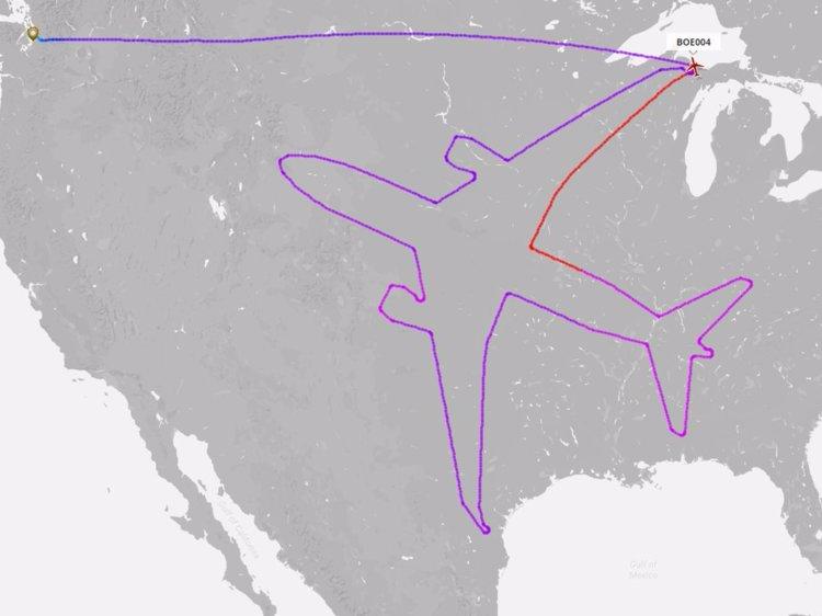 750x562 Boeing Spent 18 Hours Drawing Outline Of 787 Dreamliner Across