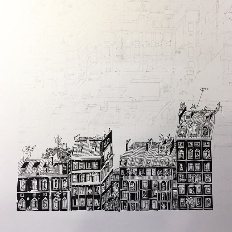 880x880 I Spent Over 150 Hours Drawing Each Of These Intricate Cityscapes
