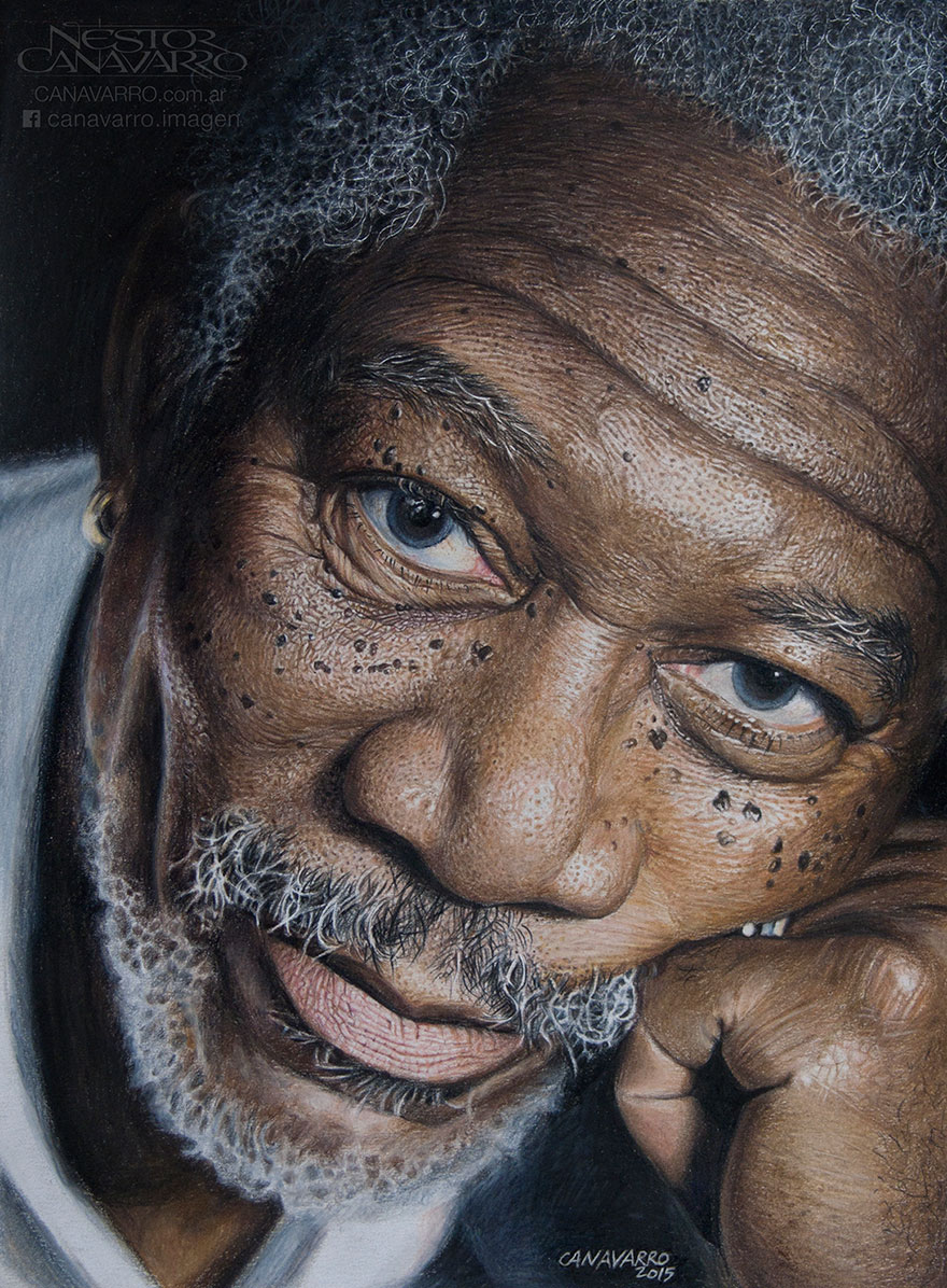 880x1196 My 50 Hour High Detail Drawing Of Morgan Freeman In Color Pencils