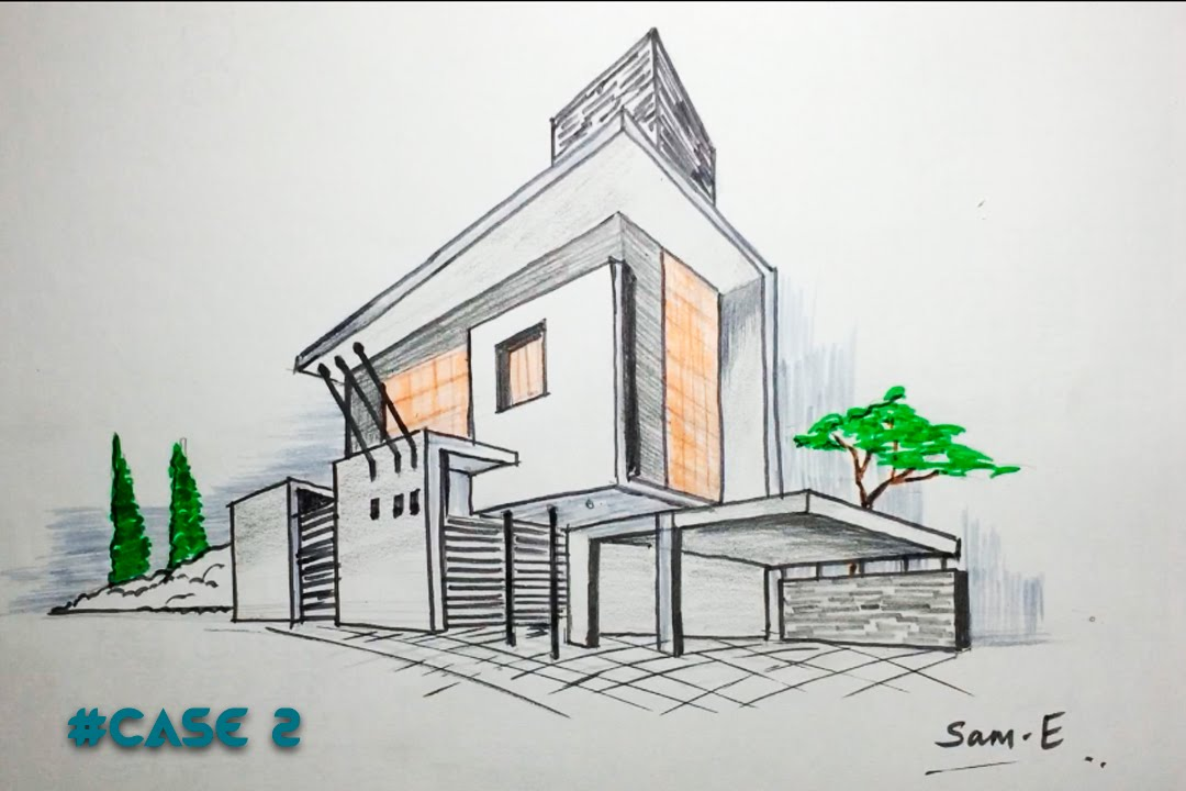 1080x720 2 Point Perspective House Case2 Architectural Freehand