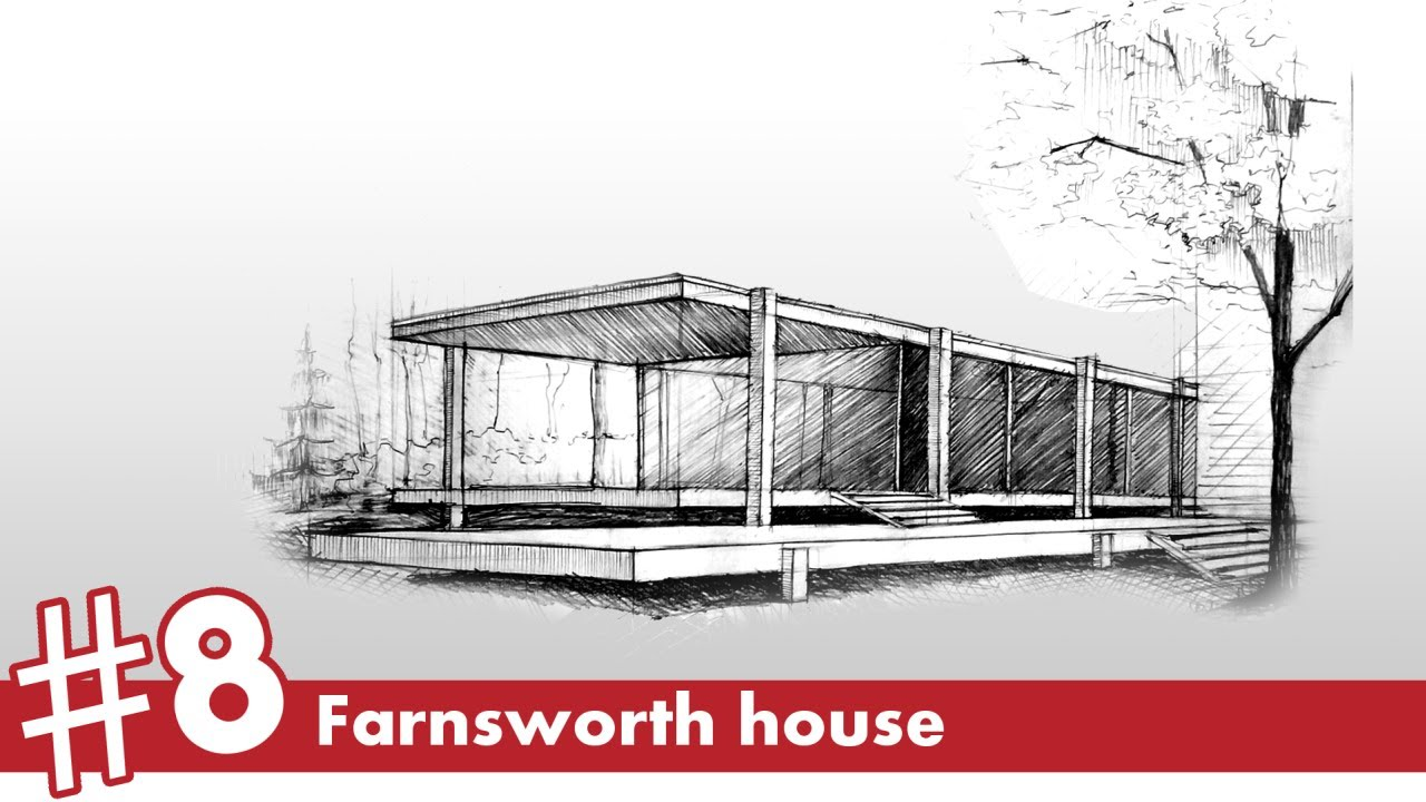 1280x720 Farnsworth House Perspective Drawing