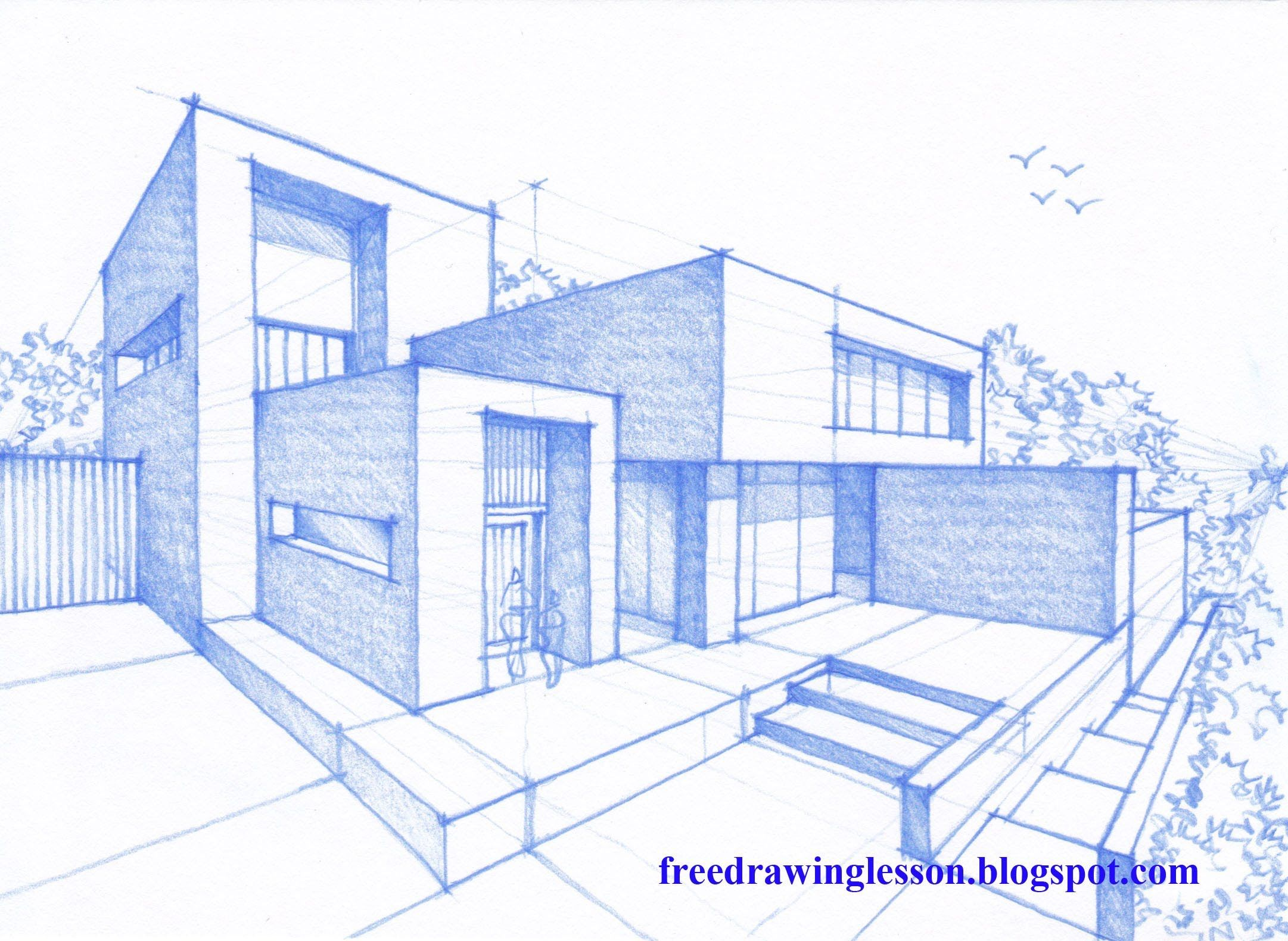 2162x1580 Architecture Modern House Design (2 Point Perspective View