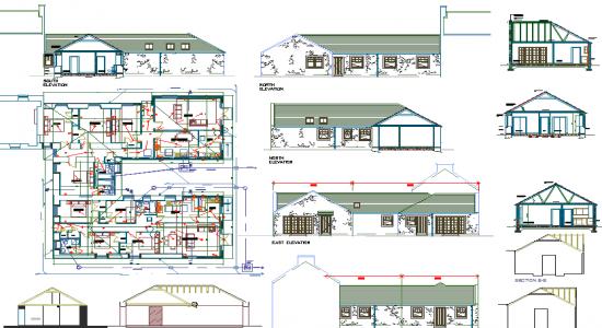 550x300 Autocad File Single Storey House Plan