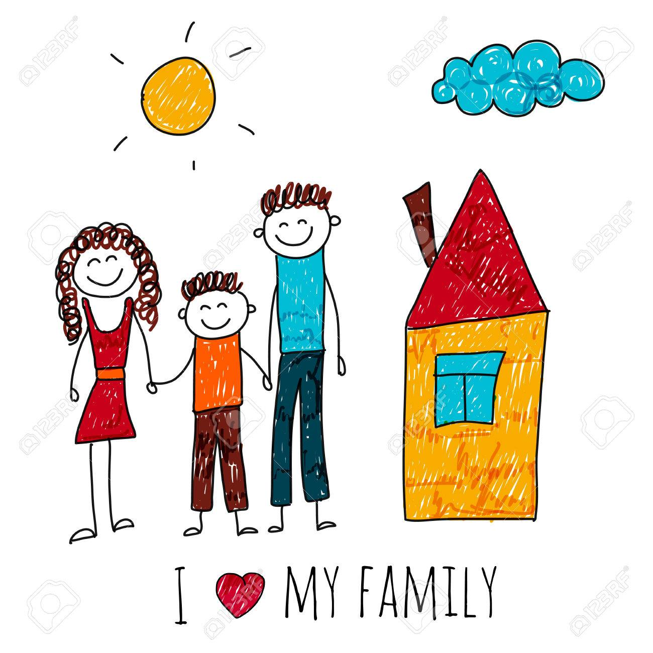 1300x1300 Image Of Happy Family With House. Kids Drawing I Love My Family