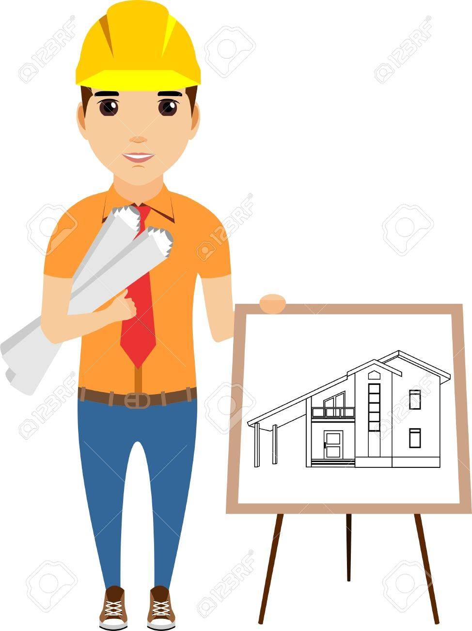 974x1300 The Concept Of An Engineer Standing Near The Drawing To The House