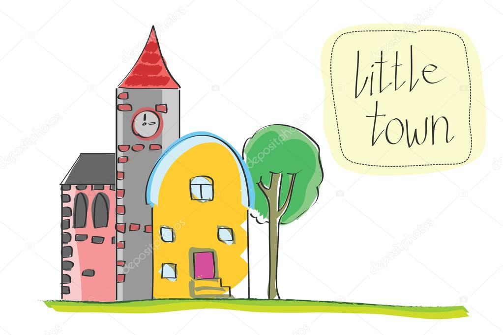 1023x682 Vector Illustration Of Old Little Town. Cartoon Historic Buildings