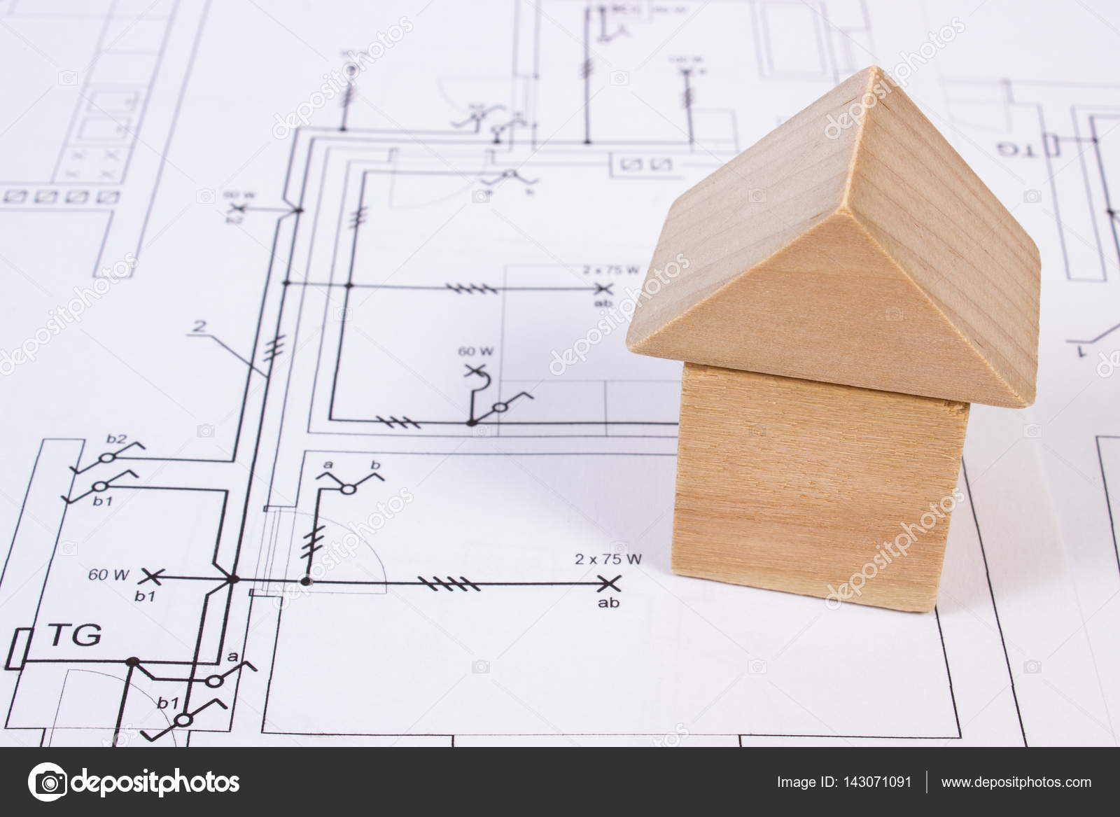 1600x1167 House Of Wooden Blocks On Construction Drawing Of House, Building