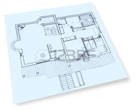 450x367 Individual House Construction Drawings Blueprint Stock Photo