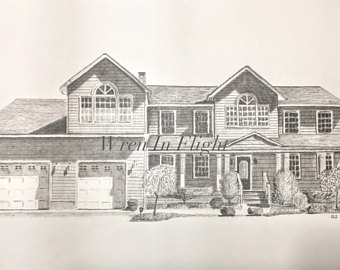 340x270 Pencil house drawing Etsy