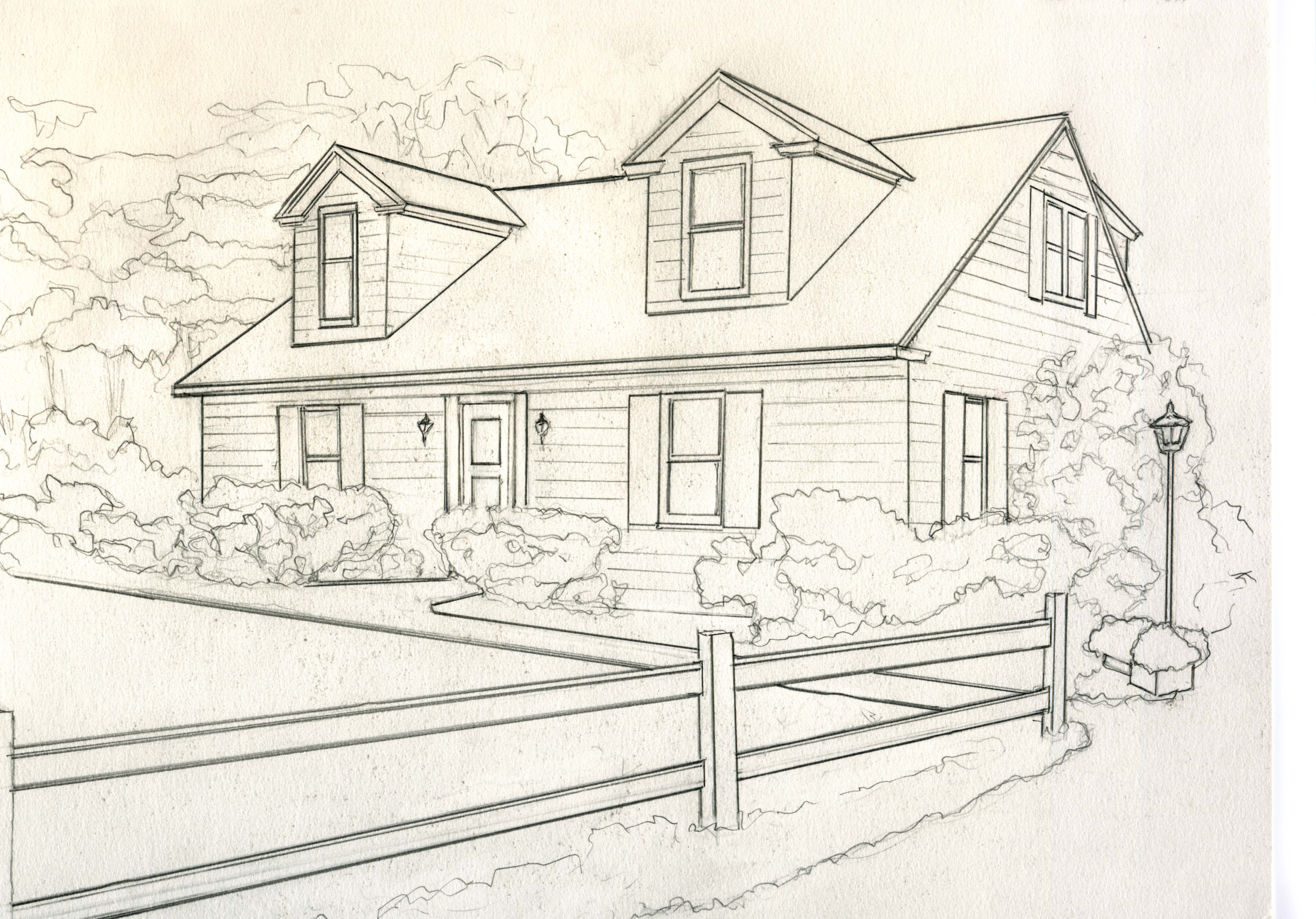 6460x4509 house for catelog drawing B greyscale small Kathleen Kelley