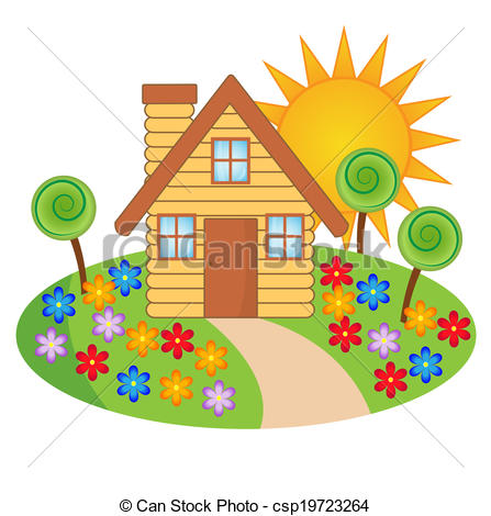 447x470 Beautiful House Clip Art