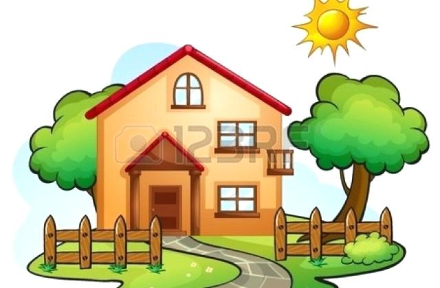 640x420 Beautiful House Drawing Garden Drawing Clip Art Vector Of House