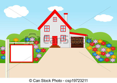 450x319 Beautiful House With A Flowering Garden, Vector Illustration