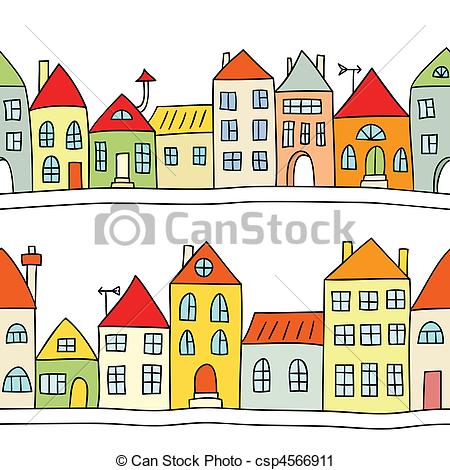 450x470 Seamless Vector Background With Houses. Seamless Vector Vector