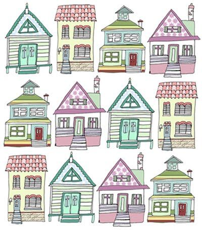 400x462 Houses. Free Pattern Quilts Neighborhood Free
