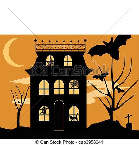 450x470 Halloween House. Vector Halloween Haunted House With Spooky