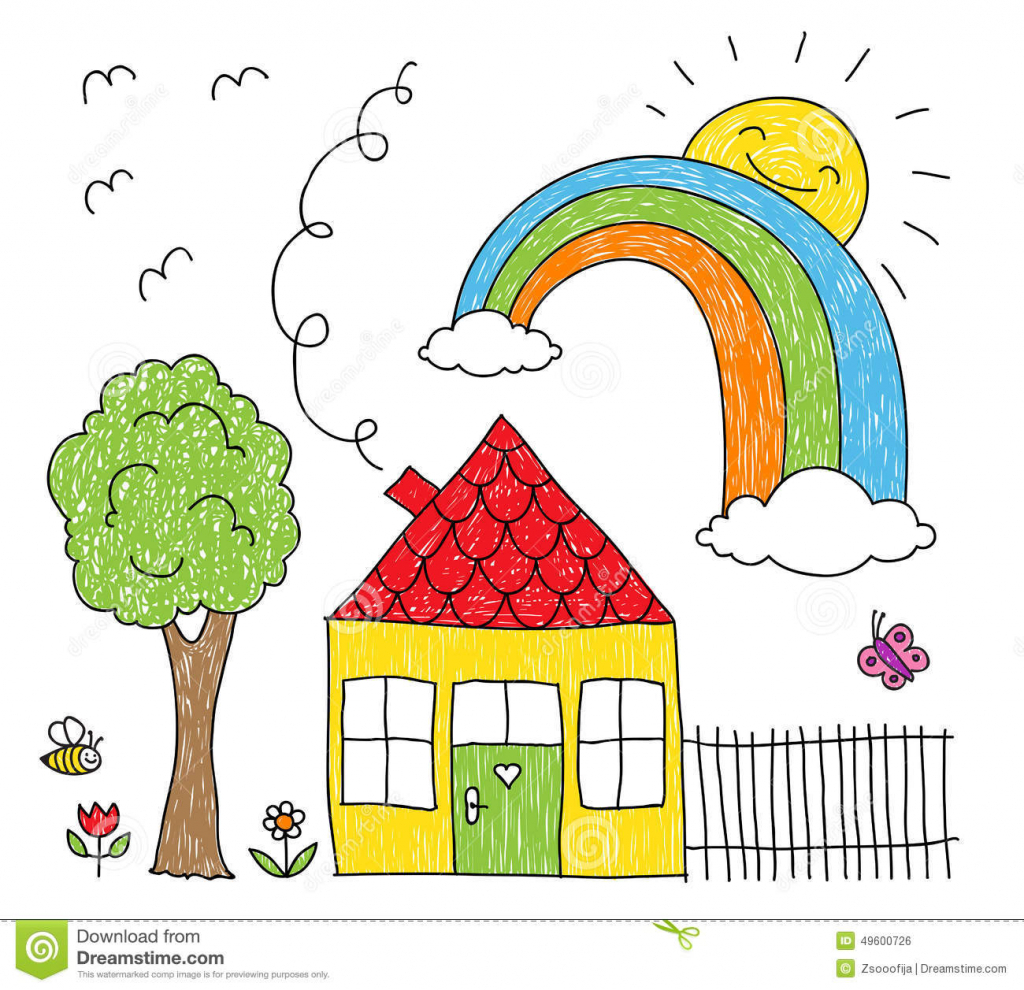 1024x990 Best Drawing For Kids House Drawing For Children 10 Best Images
