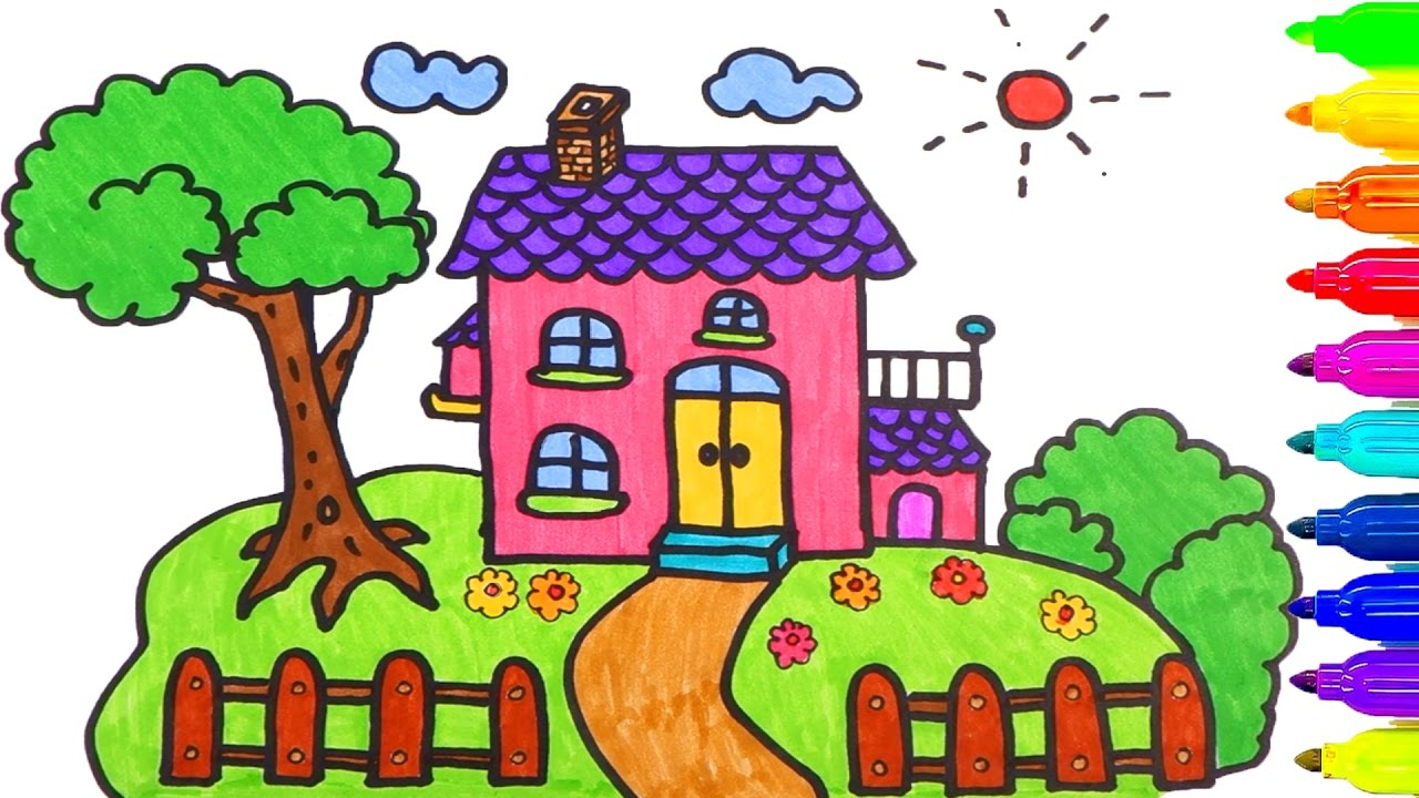 1280x720 Drawing Of House For Kids To Color