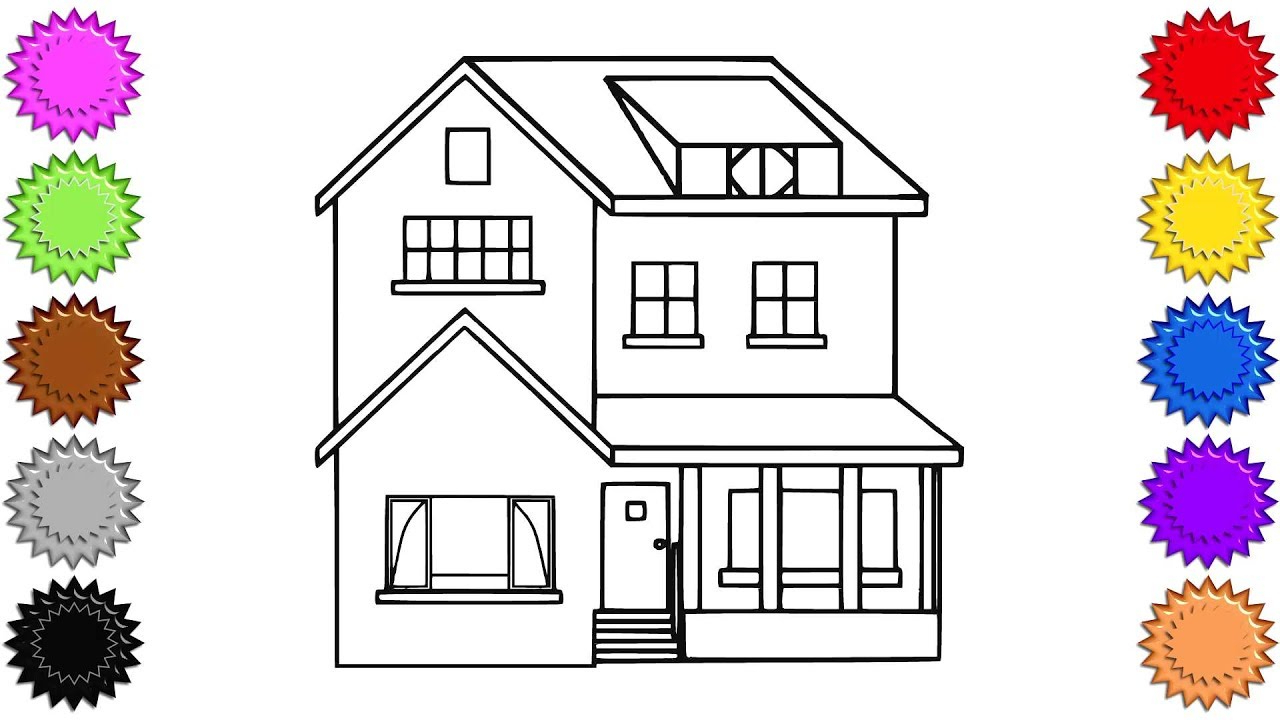1280x720 House Drawings For Kids To Color