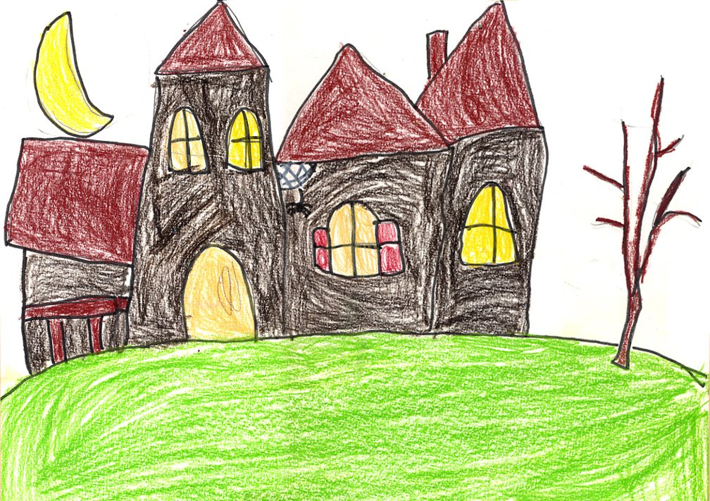 1008x711 How To Draw A Haunted House Art Projects For Kids
