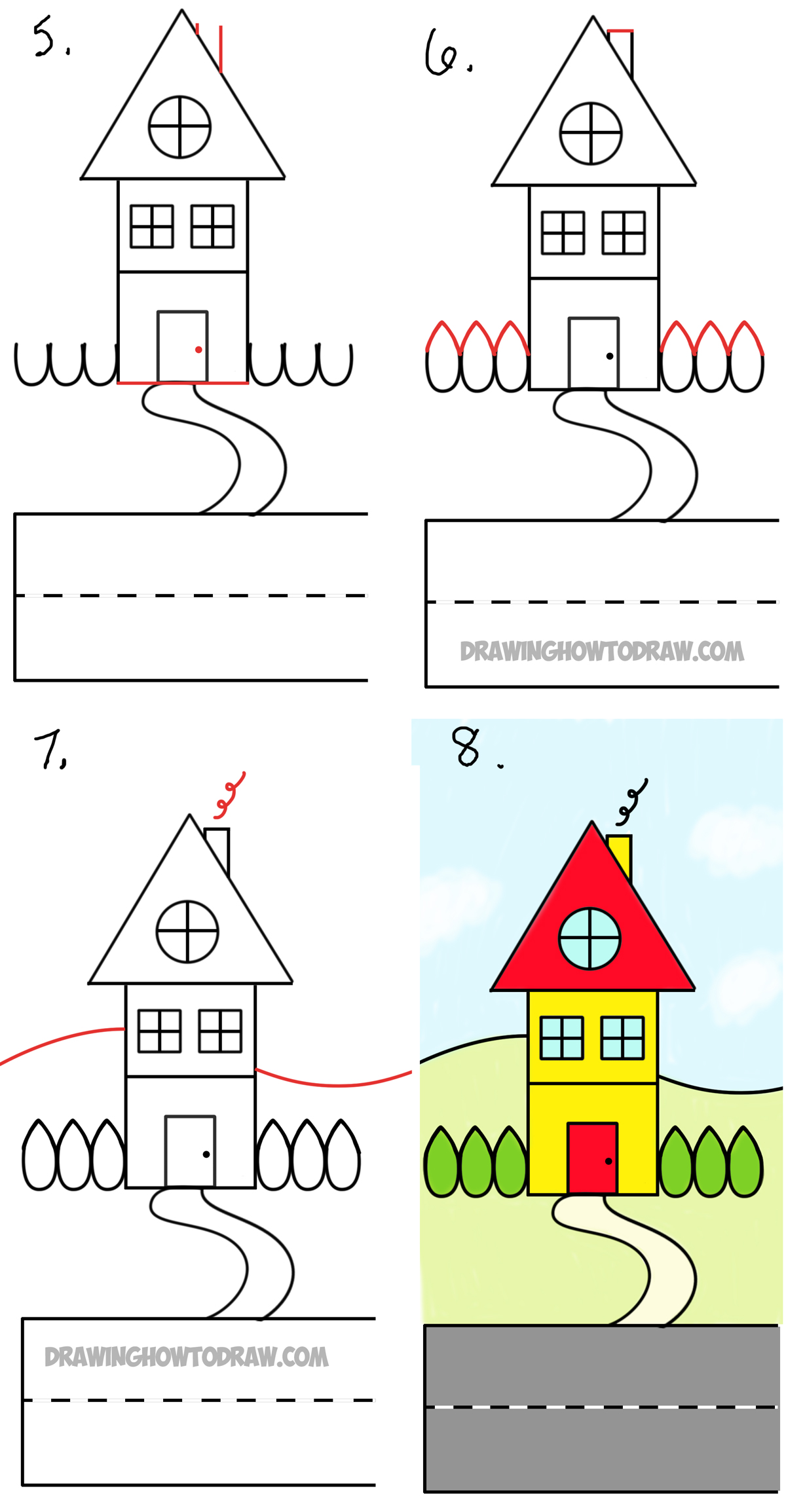 1200x2309 How To Draw A Cartoon House From The Word House An Easy Word