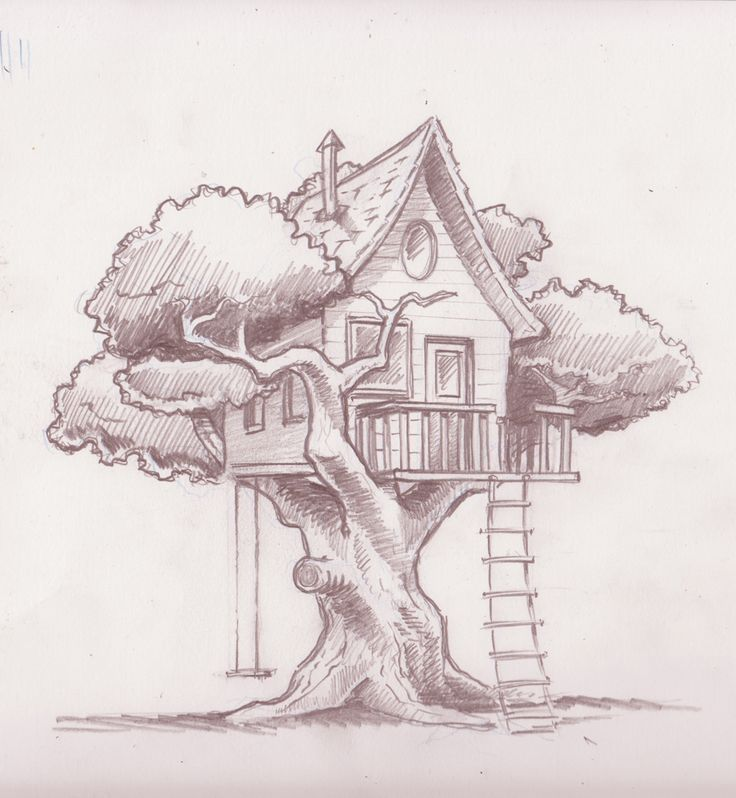 736x798 Image Result For How To Draw A Realistic Tree House Art Projects
