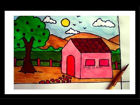 480x360 Easy House Amp Scenery Drawing Step By Step Tutorial For Kids