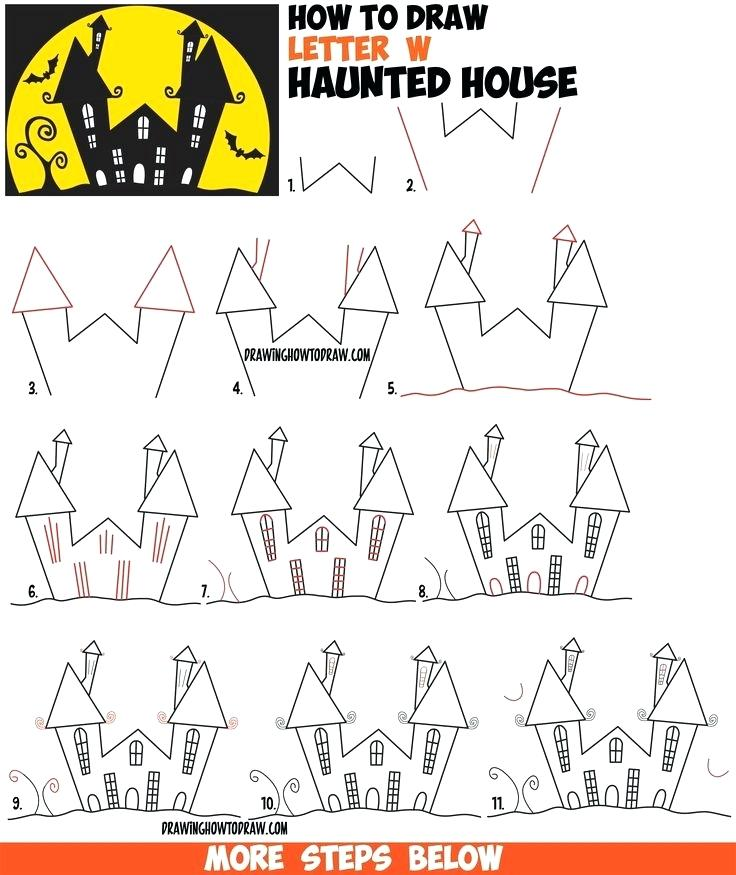736x875 House Drawing Easy Staggering How To Draw A Cartoon Haunted House