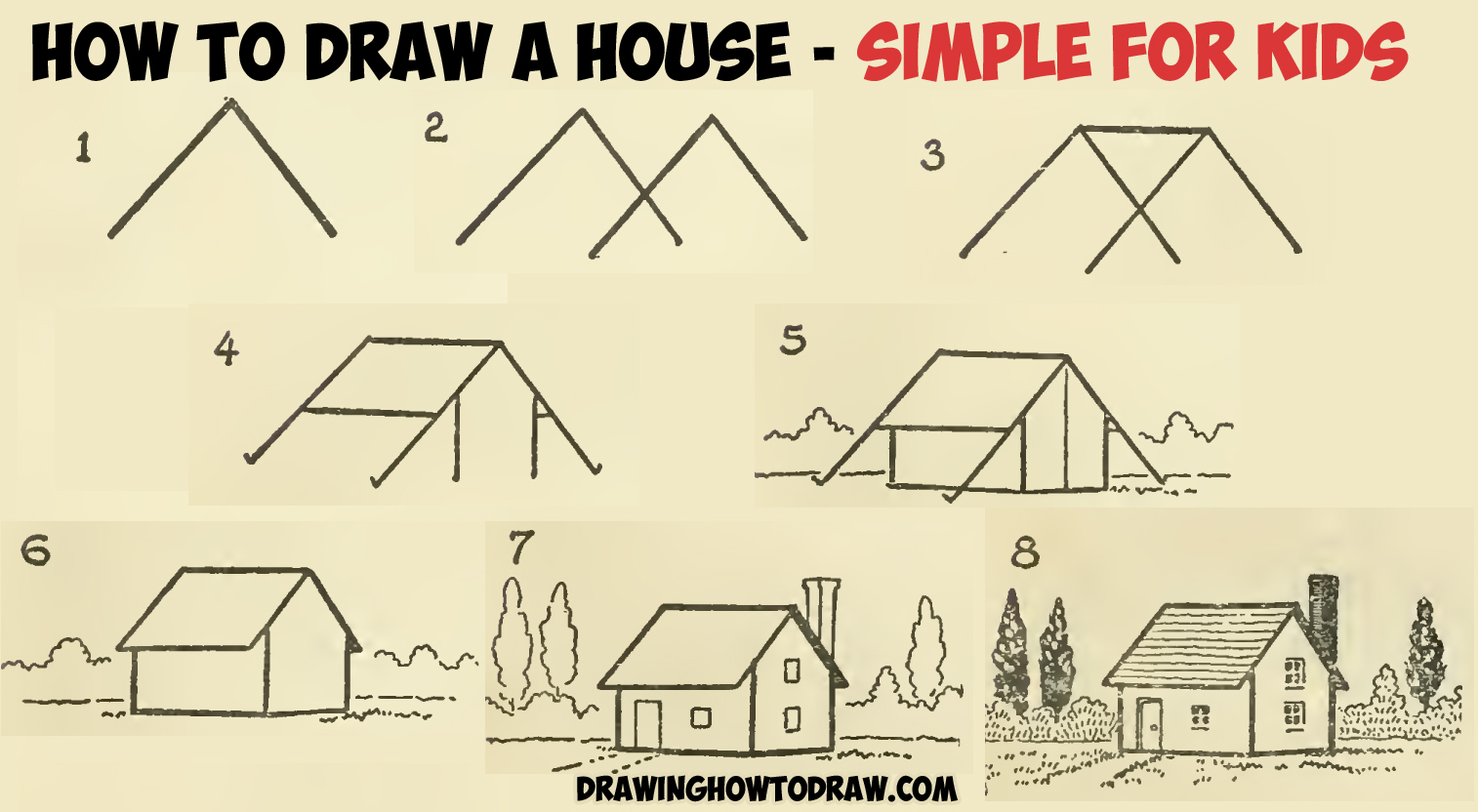 1514x832 How To Draw A Simple House With Geometric Shapes Easy Step By Step