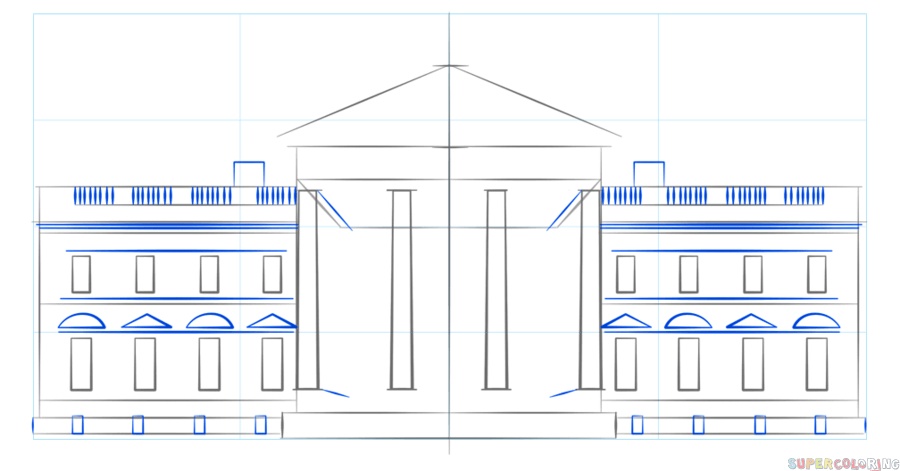 900x471 How To Draw The White House Step By Step Drawing Tutorials
