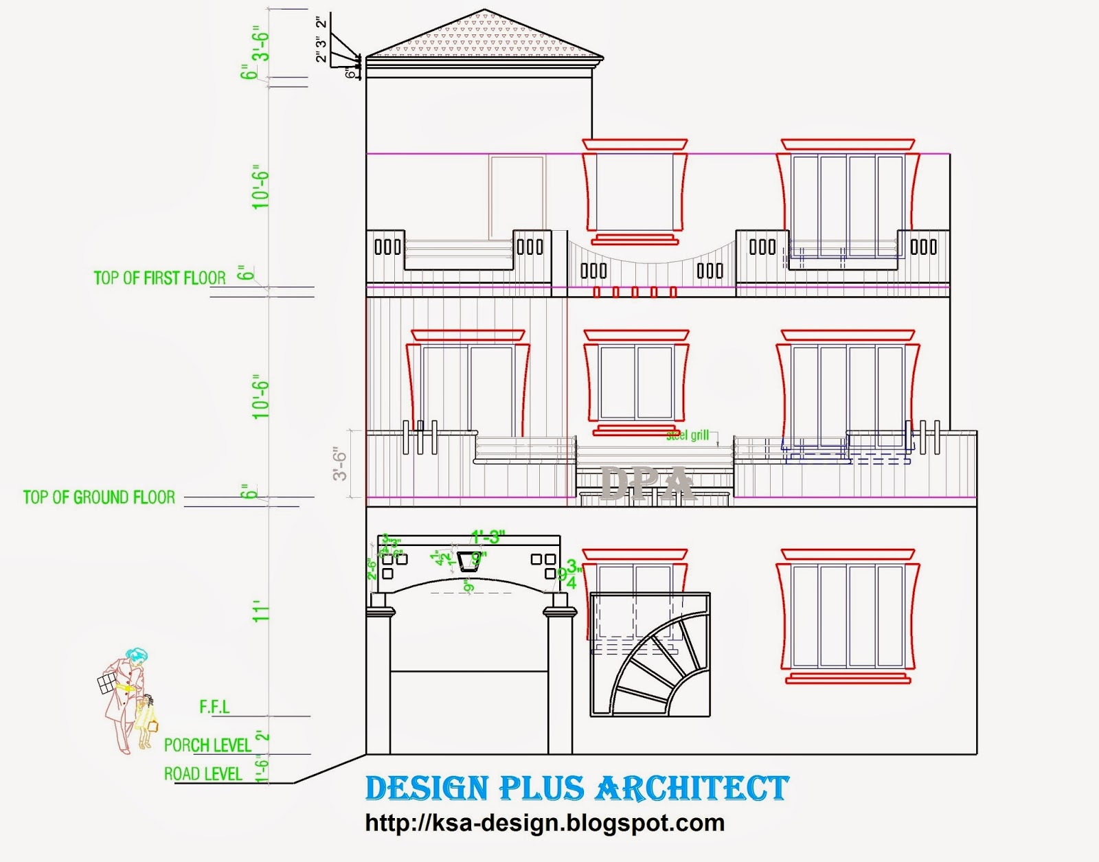 how to draw plan and elevation