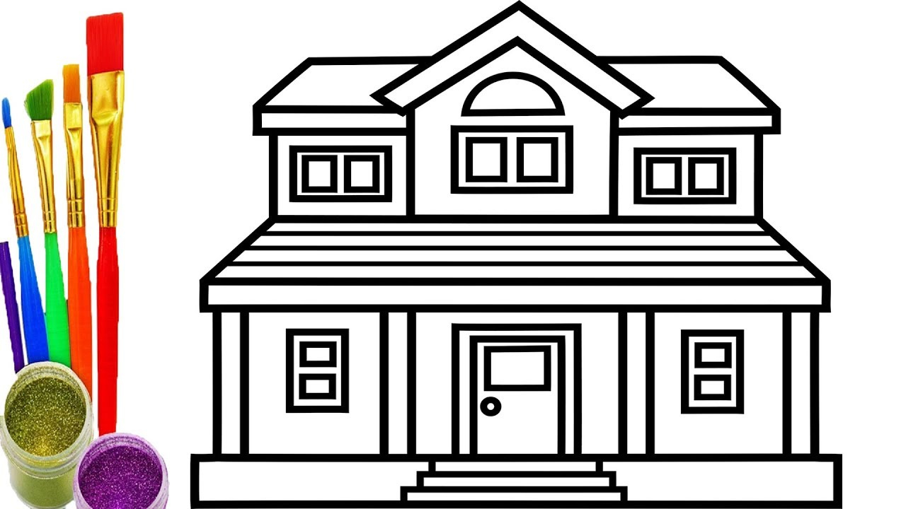 Good 1280x720 Drawing Of House For Kids To Color How To Draw House Coloring