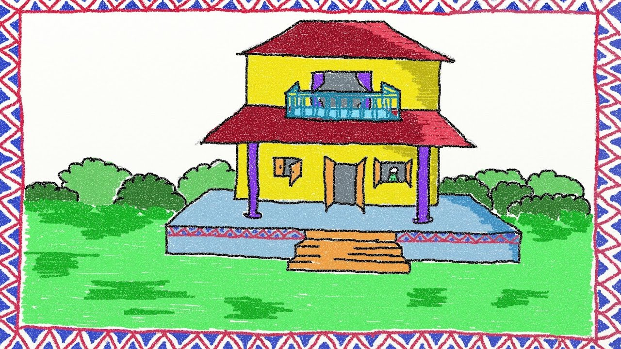 1280x720 Dreamhouse Drawing In Color Drawing Simple House How To Draw