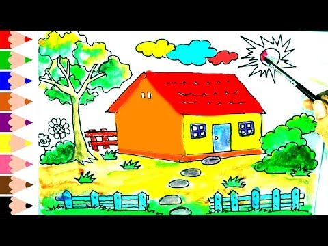 480x360 How To Draw And Paint House For Kids, Drawing House For Learning