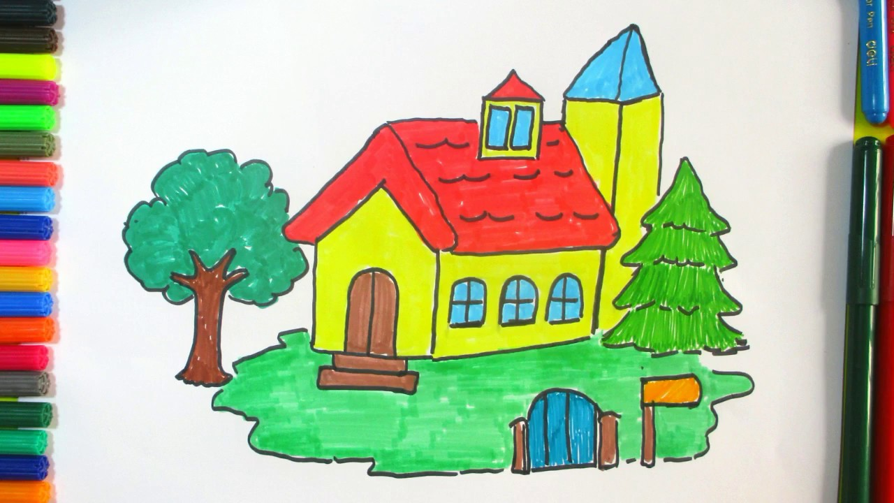 1280x720 Learn How To Draw A Beautiful House For Kids Colorful Drawing