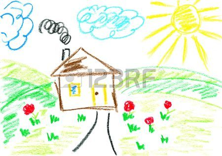 450x316 House. Kids Art. Child's Drawing With Crayons. Stock Photo